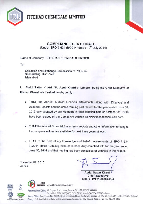 Ittehad Chemicals Limited Compliance Certificate